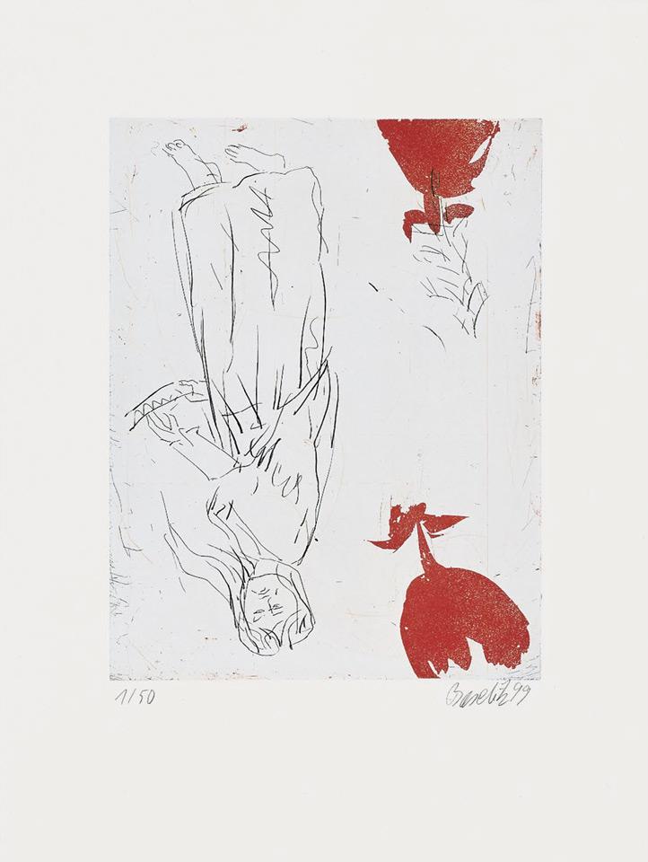 Georg Baselitz - Frau am Abgrund, zwei Rosen