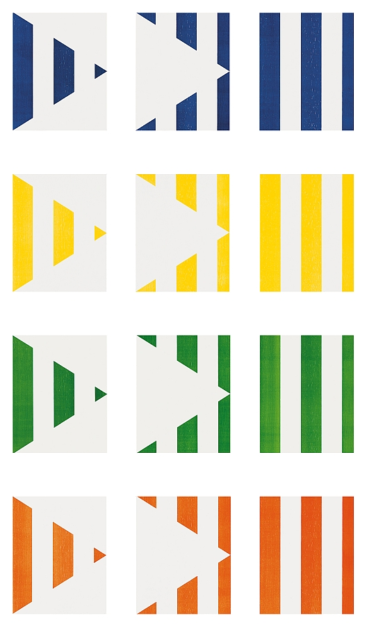 Daniel Buren - 1 + 2 = 3 (Triptych)