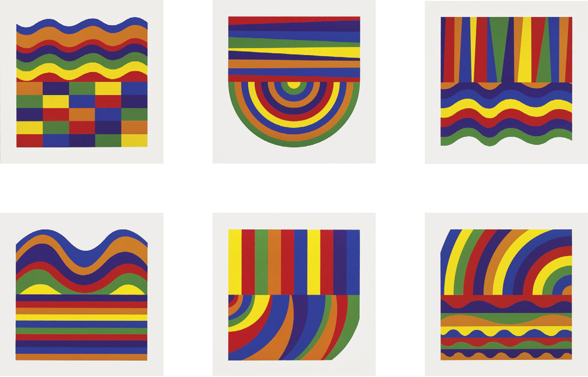 Sol LeWitt - Arcs and Bands in Colors A - F