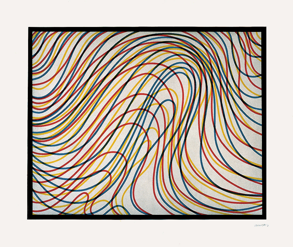Sol LeWitt - Wavy Lines with Black Border