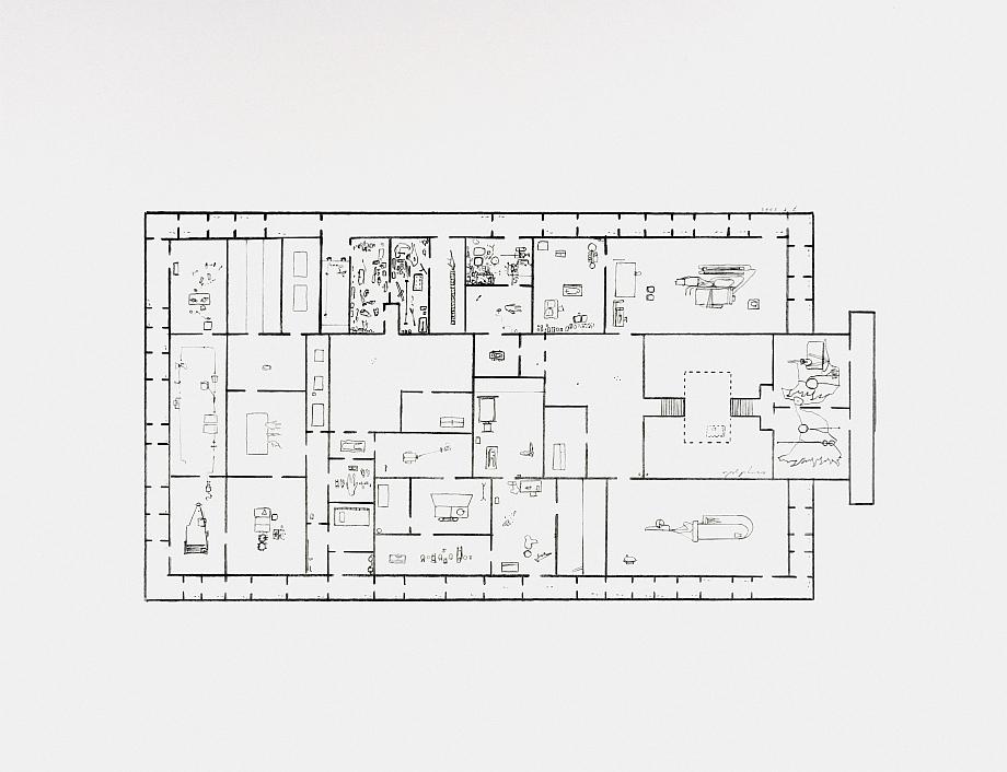 Mark Manders - Provisional Floor Plan: Self Portrait</br>as a Building 7-5-2002